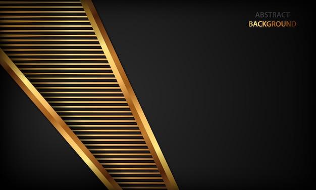 Elegant black luxury background. texture with realistic golden effect element. Premium Vector