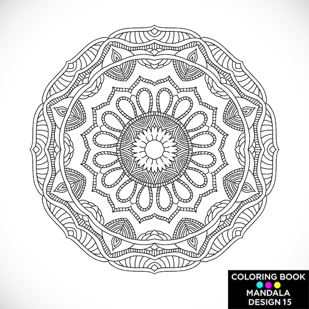 Free Vector Elegant Black Mandala For Coloring Book