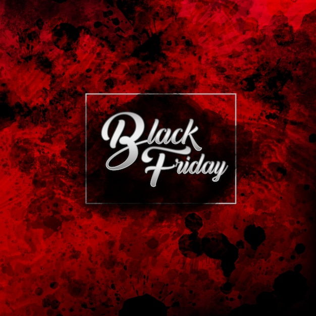 Elegant black and red water color black friday background Premium Vector