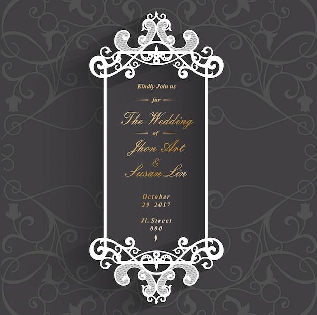 Elegant Black Wedding Invitation Card Vector Premium Download