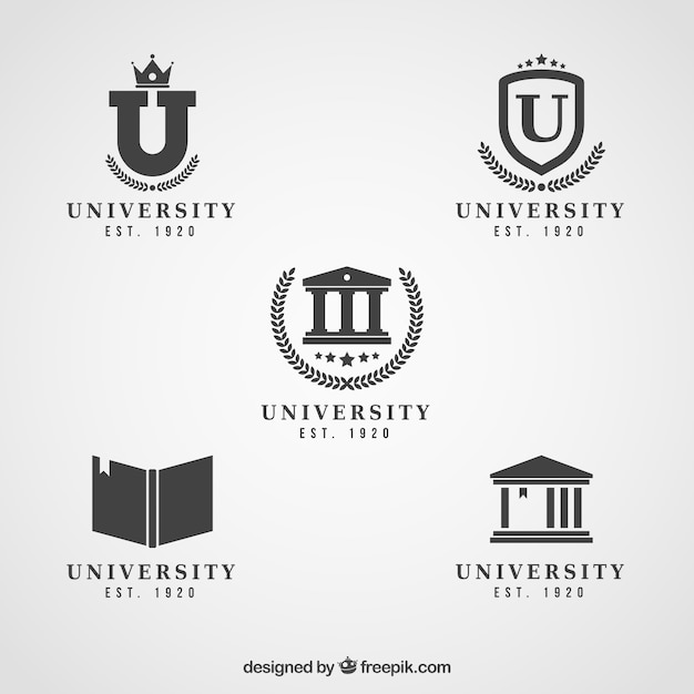 Elegant black and white logos for college Free Vector