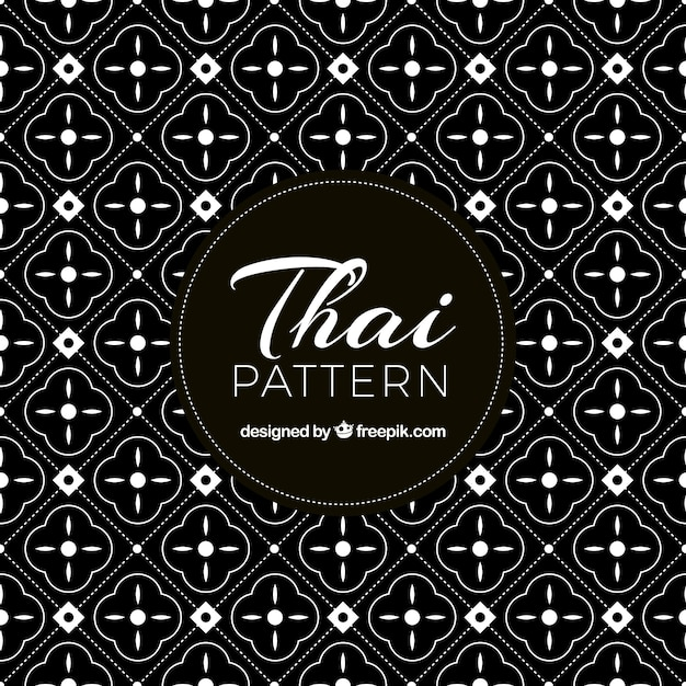Elegant black and white thai pattern Free Vector