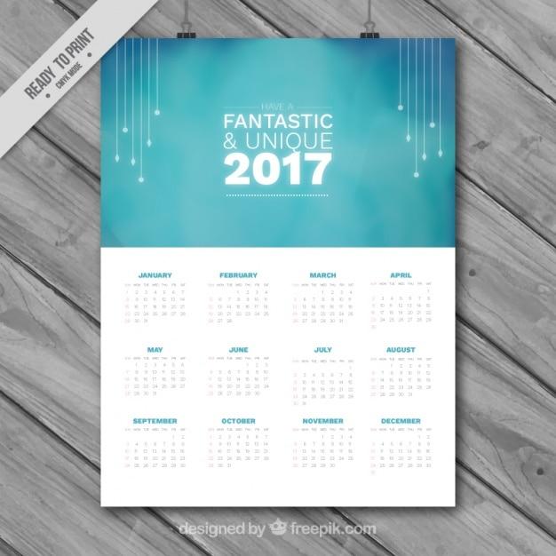 Elegant blue 2017 calendar  Free Vector