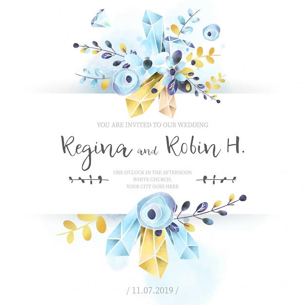 Elegant blue and golden watercolor wedding card Free Vector
