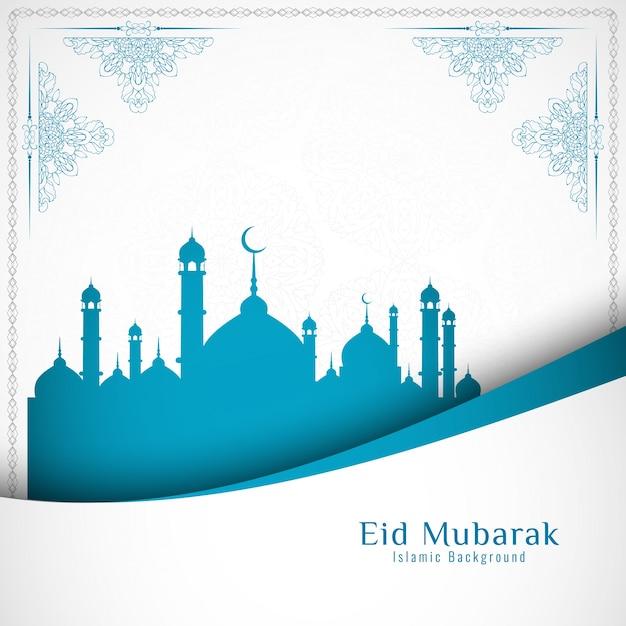 Elegant blue and white eid mubarak design Free Vector