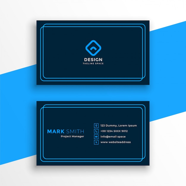 Elegant blue business card in line style template Free Vector