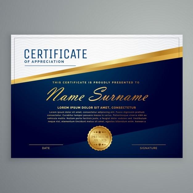 download vector elegant blue certificate with golden lines