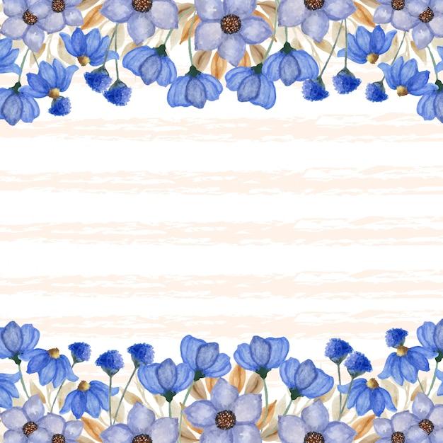 추상 라인 배경으로 우아한 푸른 꽃 테두리 프리미엄 벡터