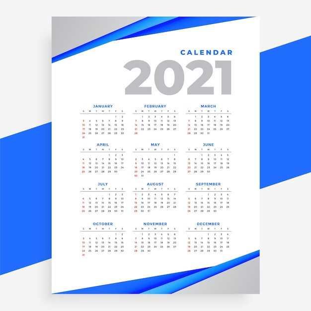 Elegant blue geometric style modern calendar of 2021 year Free Vector