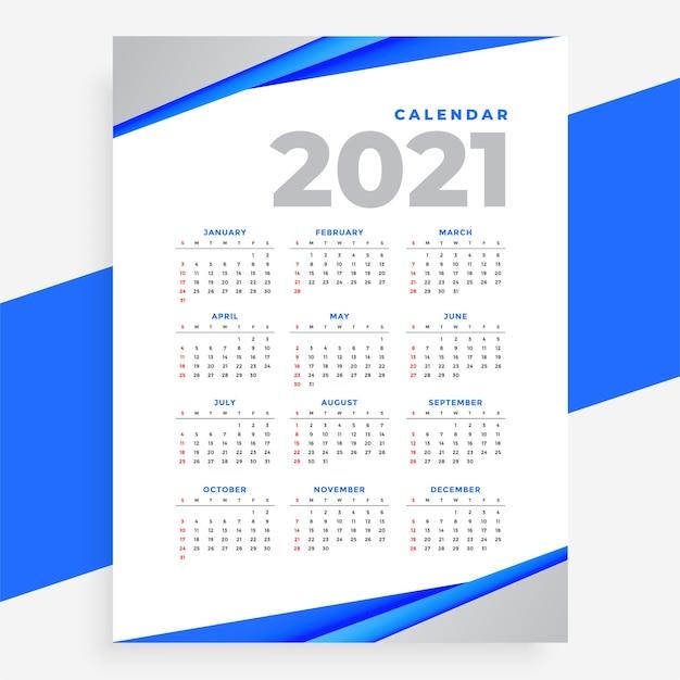 2021年のエレガントなブルーの幾何学的なスタイルのモダンカレンダー 無料ベクター