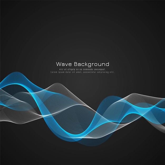 Elegant blue glossy wave background vector Free Vector