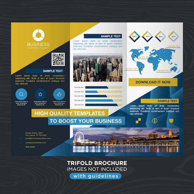 Elegant Blue Gold Business Design Trifold Brochure Template Vector - Elegant brochure templates