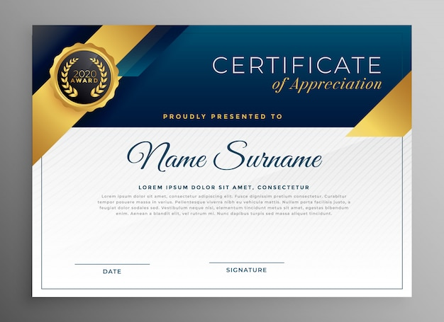 Elegant blue and gold certicate template design Free Vector