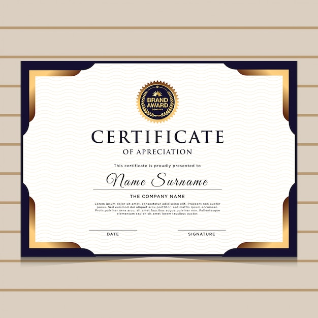 Elegant Marriage Certificate Template Golden Edition: Elegant Blue And Gold Diploma Certificate Template Vector