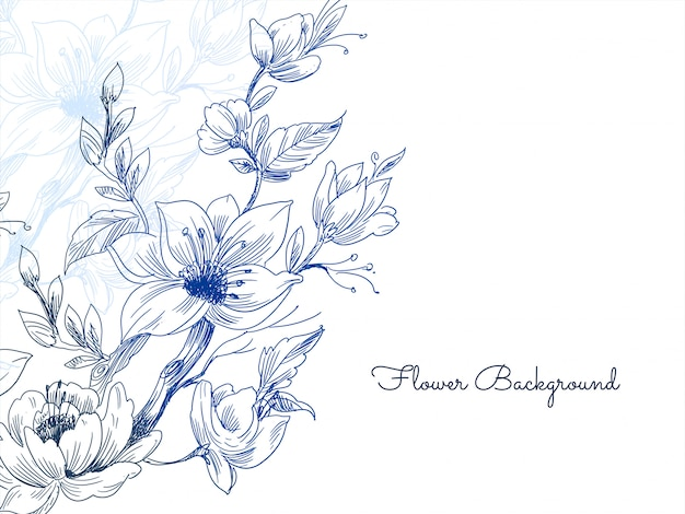 Elegant blue hand drawn flower background vector Free Vector
