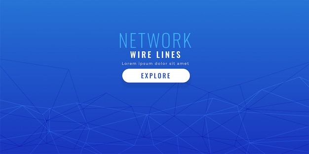 Elegant blue low poly network lines background Free Vector