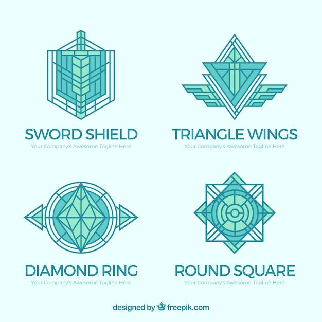 Elegant blue monoline logo pack