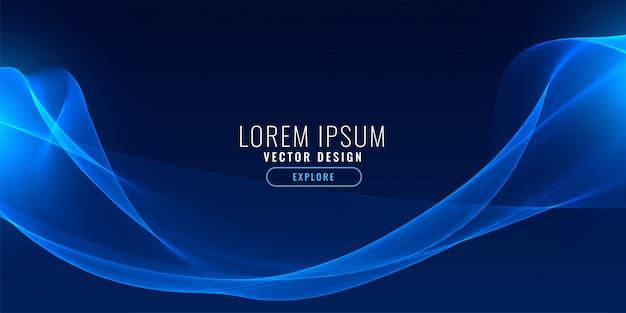Elegant blue neon wave background Free Vector