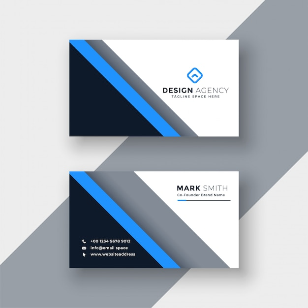 Elegant blue professional business card template Free Vector