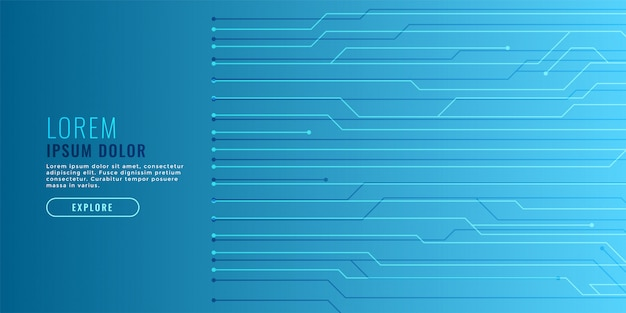 Elegant blue technology background with circuit lines Free Vector