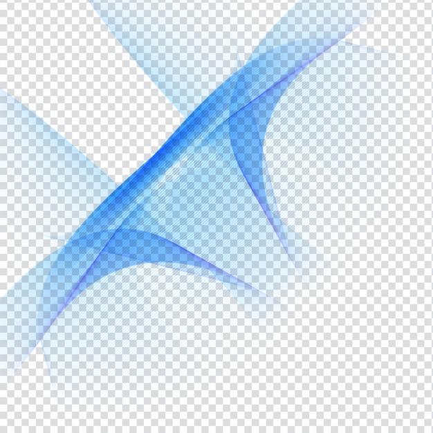 Elegant Blue Wave Design On Transparent Background Vector