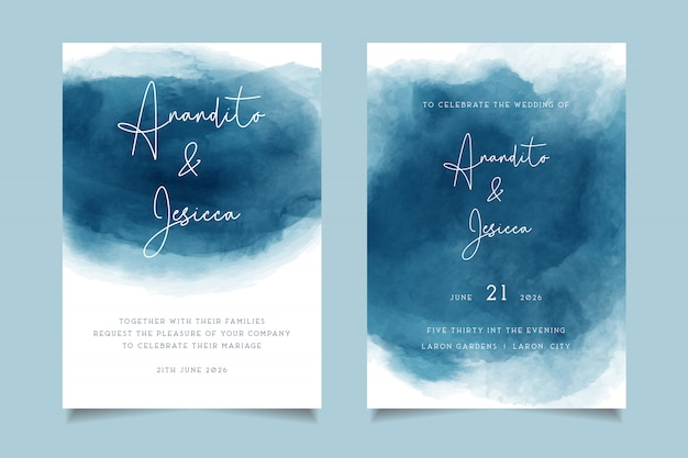Elegant blue waves watercolor wedding invitation with abstract style Premium Vector