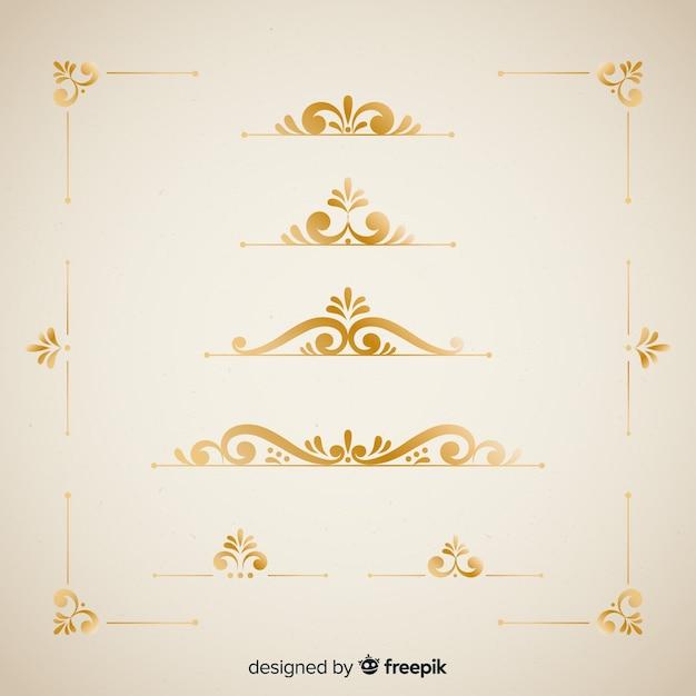 Elegant border ornaments set Free Vector