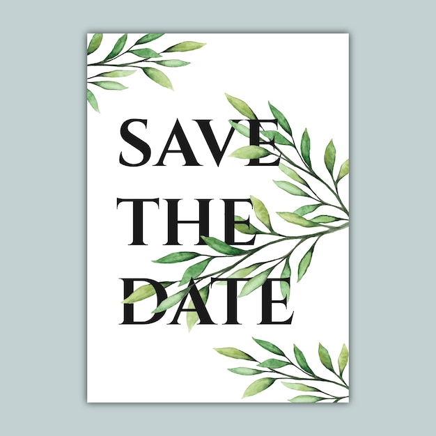 Elegant botanical save the date card with watercolor illustration Premium Vector