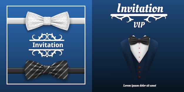 Elegant bowtie banner set. realistic illustration of elegant bowtie vector banner set for web design Premium Vector