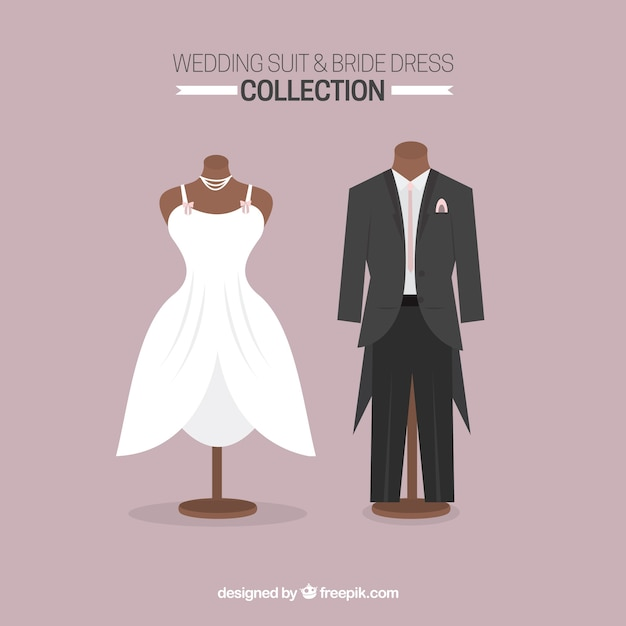 Elegant bride dress and stylish wedding suit Vector | Premium Download