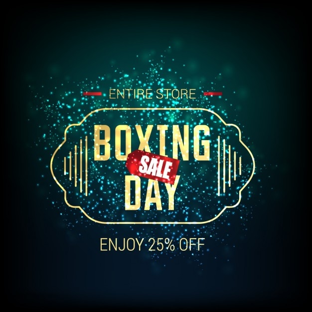 Elegant bright background with boxing day\ label