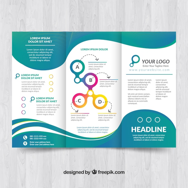 Elegant Brochure Template With Waves Vector Free Download - Elegant brochure templates