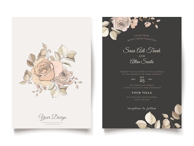 Elegant brown floral invitation card template Free Vector
