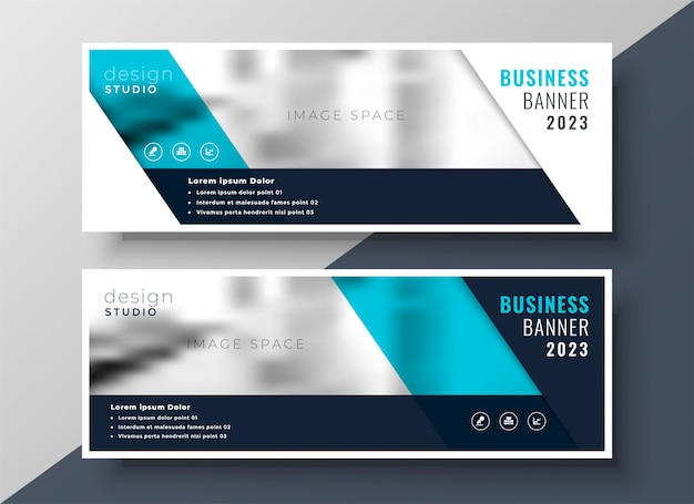 Elegant business banner design with image space Free Vector
