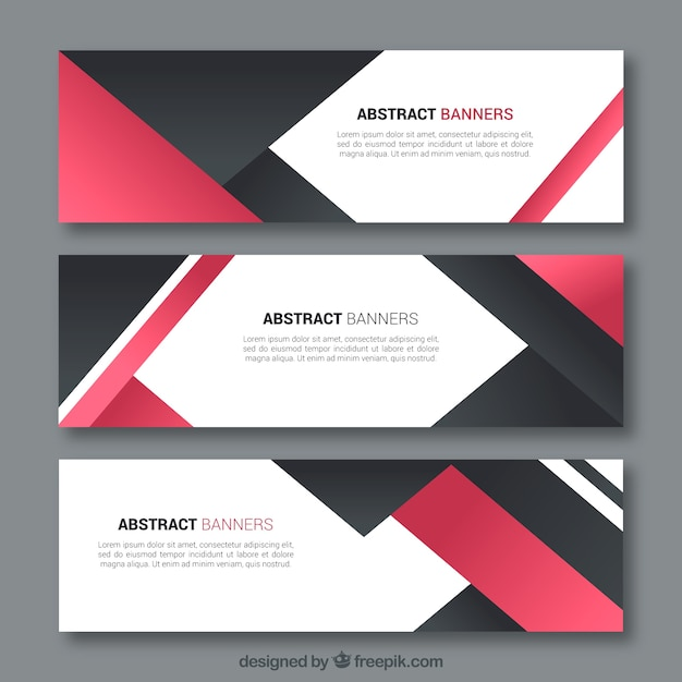 Elegant business banners with abstract shapes