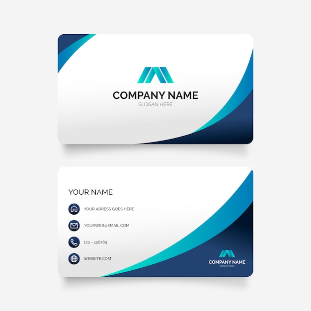 Elegant business card in blue colors Free Vector