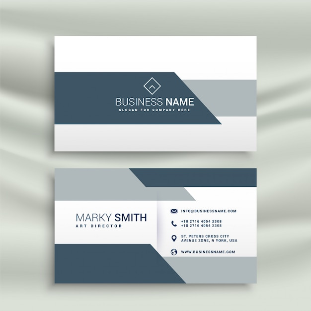 elegant business card design in geometric shape Free Vector
