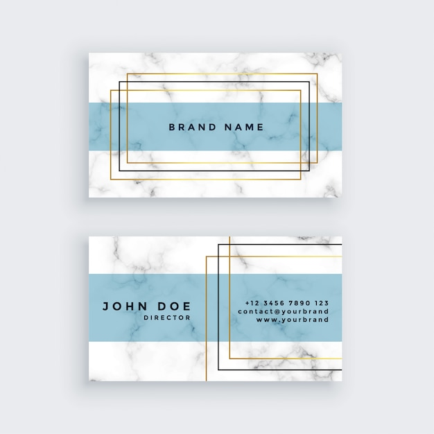 Elegant business card design with marble texture Free Vector