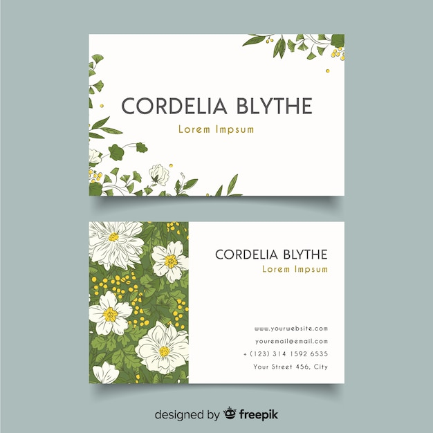 Elegant business card template with flowers and leaves Free Vector