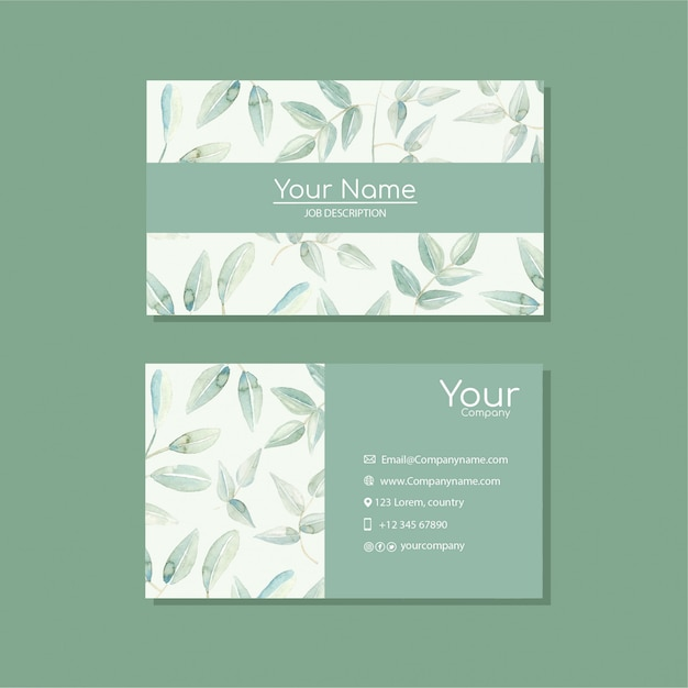 Elegant business card template with flowers in watercolor Premium Vector