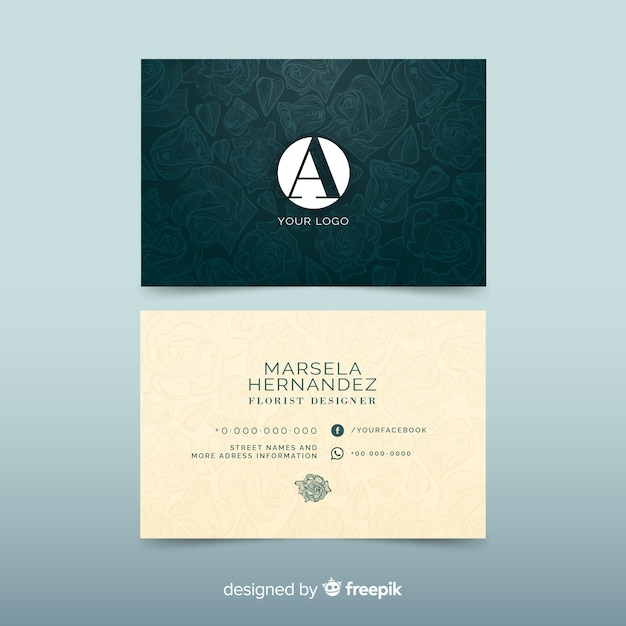 Elegant business card template with flowers Free Vector