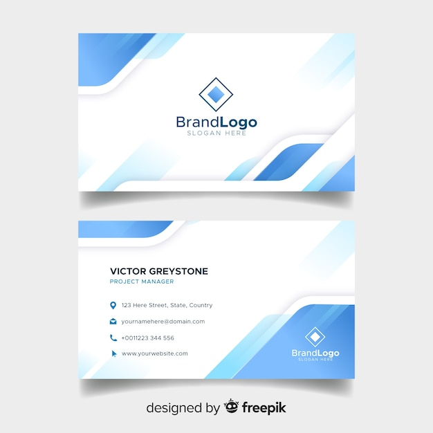 Elegant Business Card Template With Geometric Design Vector Free