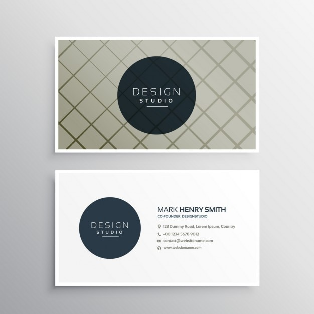 Elegant Business Card Template With Geometric Lines Vector Free