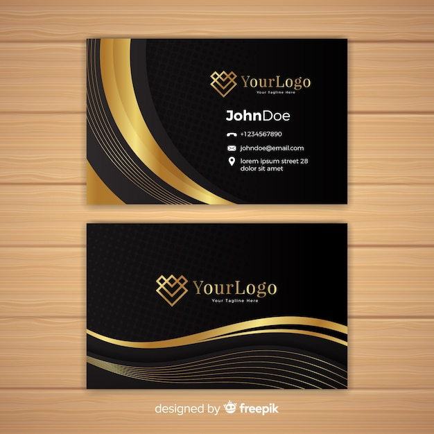 Elegant business card template with golden style Free Vector