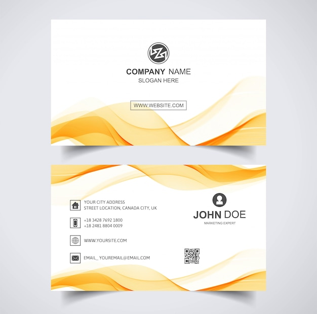 Elegant business card wave template Free Vector
