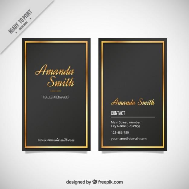 Elegant business card with a golden frame vector free download elegant business card with a golden frame free vector colourmoves