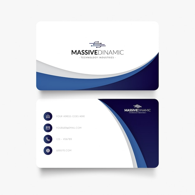 Elegant business card with blue waves Free Vector