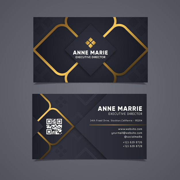 Elegant business card with golden lines Free Vector
