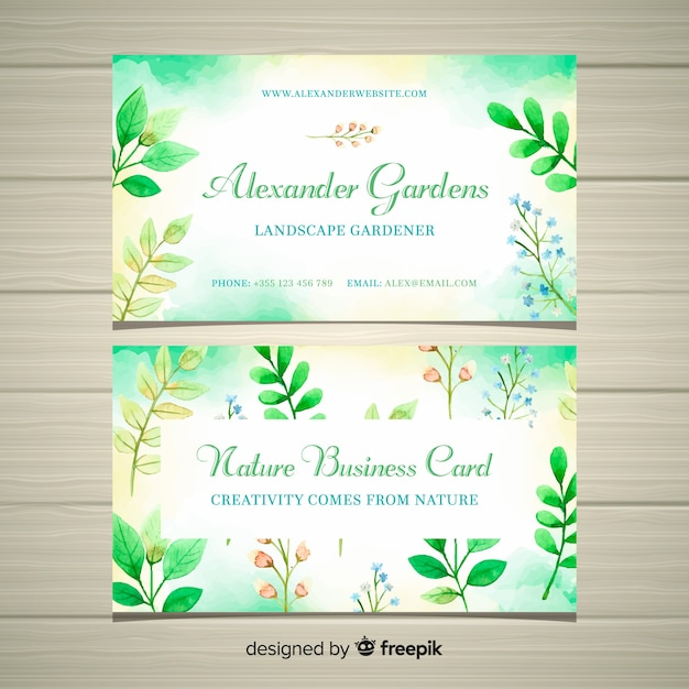 Elegant  business card with nature concept Free Vector