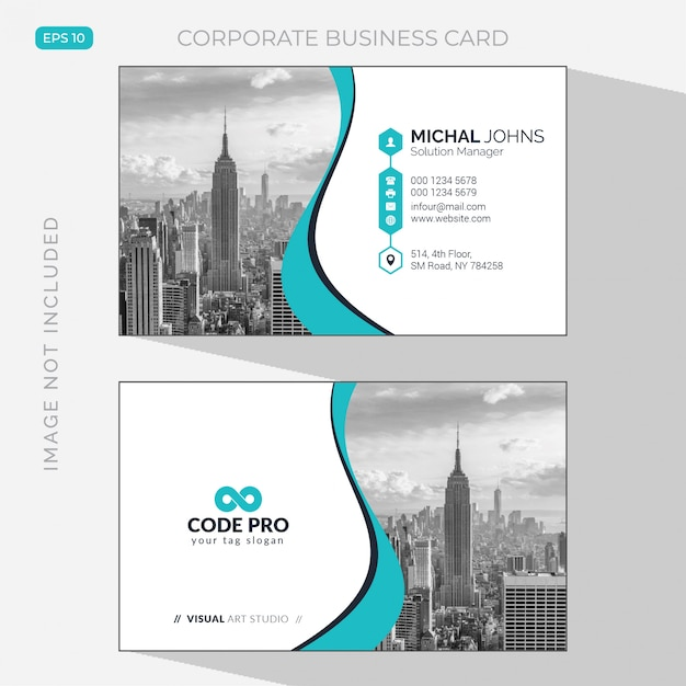 Elegant business card with photo of city Free Vector